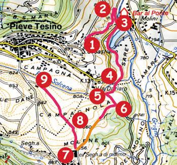 mappa itinerario 3 da pieve a pradellano